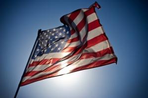Fluttering US flag